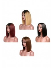 Fontal Lace Wigs Ombre Human Hair avec Baby Hair Lisse Brazilian Remy