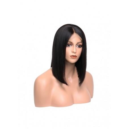 Frontal Lace wig 13x4 Bob Lisse Brazilian Remy Hair densité 180