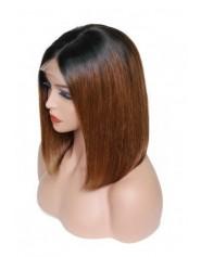 Frontal Lace wig 13x4 bob ombré 1B/30 Brazilian Remy Avec Baby Hair densité 180
