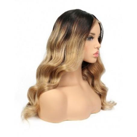Frontal Lace wig 13x4 body wave 1B/27 Brazilian Remy Avec Baby Hair densité 180