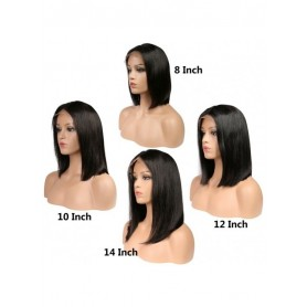 Frontal Lace wig 13x4 Bob Lisse Brazilian Remy Avec Baby Hair densité 180