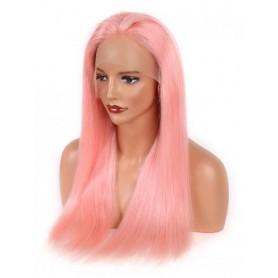 Frontal Lace wig 13X4 100% cheveux brésilien Remy lisse pink avec baby hair densité 180