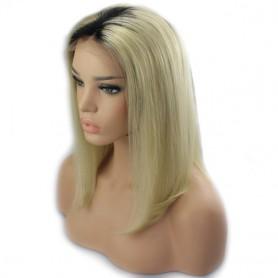 Frontal Lace wig 13x4 bob ombré 1B/613 Brazilian Remy Avec Baby Hair densité 180