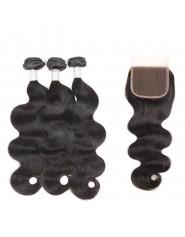 lgant Brsilien Corps Vague Bundles Avec Fermeture 4 pcs Naturel Couleur Cheveux Armure Remy de Cheveux Huma