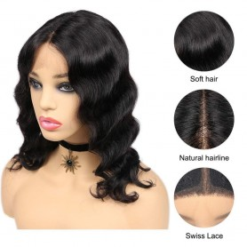 "Perruque Lace wig 4x4"" Lisse Brazilian Remy 14"""