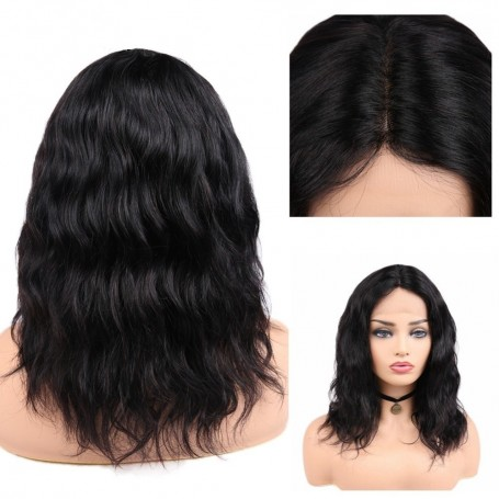 "Perruque Lace wig 4x4"" Natural Wave Bresilien Remy 14"""