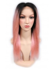 Frontal Lace wig 13x4 Lisse Middle Part Brazilian Remy Hair Avec Baby Hair 1B/Pink