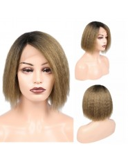 """Perruque Frontal Lace wig 13x4"""" Kinky Straight Brazilian Remy T1B/27/8"""""""