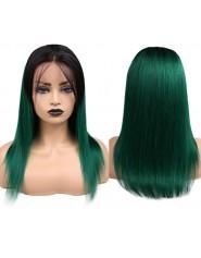 "Perruque Frntal Lace wig 13x4"" lisse 1B/vert Brazilian Remy Avec Baby Hair densité 150"