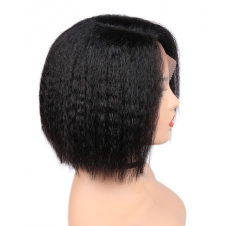 Perruque Frontal Lace Wig Kinky Straight Brazilian Remy Hair 10""