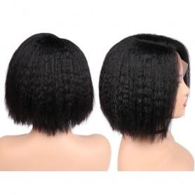 "Perruque Lace wig 4x4"" Kinky Straight 1B  Brazilian Remy 8"""