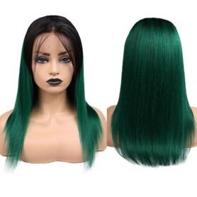 """Perruque Lace wig 4x4"""" lisse 1B/vert  Brazilian Remy Avec Baby Hair densité 180"""