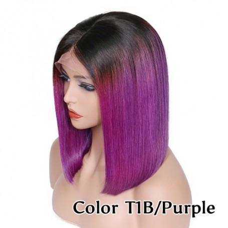 Frontal Lace wig 13x4 Lisse Brazilian Remy Hair Avec Baby Hair 1b/purple