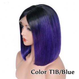 Frontal Lace wig 13x4 Lisse Brésilien Remy Hair Avec Baby Hair 1b/blue