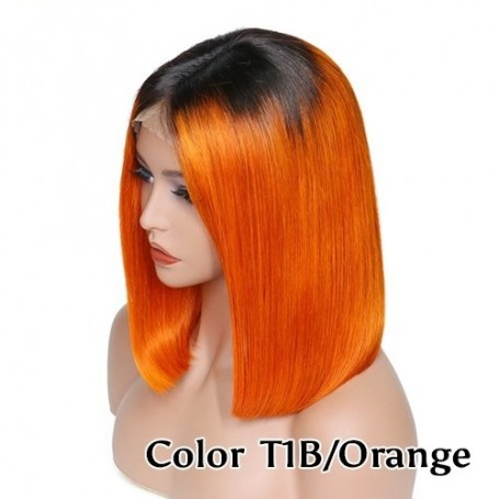 Frontal Lace wig 13x4 Lisse Brazilian Remy Hair Avec Baby Hair 1b/orange