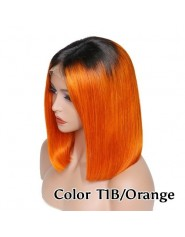 Frontal Lace wig 13x4 Lisse Brazilian Remy Hair Avec Baby Hair 1b/orange