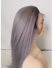 Perruque Frontal Lace Wigs Humain Lisse 1B/GRIS 16P