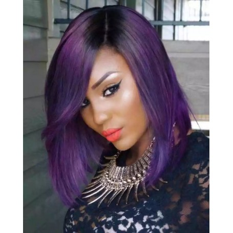 Frontal Lace Wigs Bobo Lisse 1B/Purp RC 10P