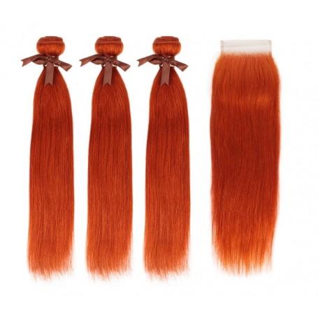 Tissage brésilien Lisse Orange et Closure x3
