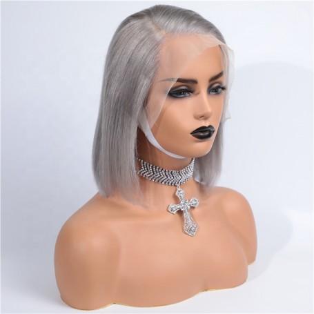 Frontal Lace wig 13x4 Lisse Brésilien Remy Hair Avec Baby Hair 1b/gris