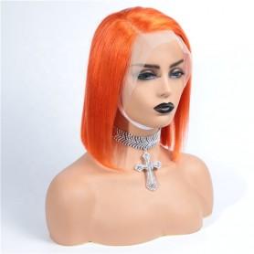 Frontal Lace wig 13x4 Lisse Brésilien Remy Hair Avec Baby Hair orange