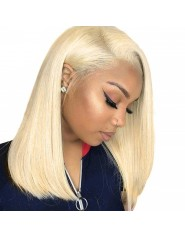 Frontal Lace wig 13x4 Lisse Brésilien Remy Hair Avec Baby Hair blond