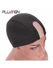 Plussign-bonnet pour perruque sans colle filet cheveux lastique en maille u-part noire Spandex vente en