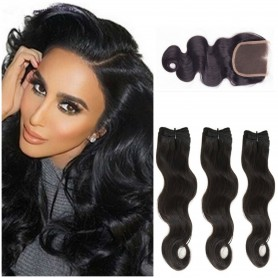 "3 Tissage Brésilien Body Wave et Closure Try Me 20"" ( 50 cm )"