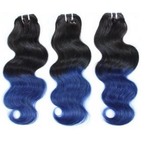 3 Tissage Brésilien Body Ombré Hair Bleu