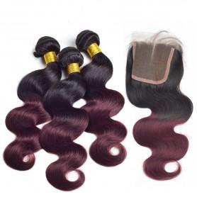 Tissage brésilien Ombré Hair Burg et closure x3