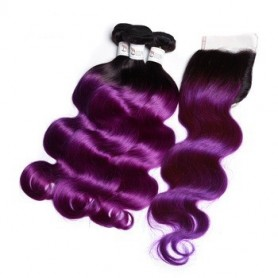 Tissage tie and dye purple body et closure x3